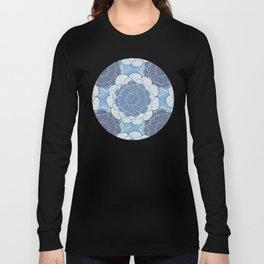 Lacy Blue & Navy Mandala Pattern  Long Sleeve T-shirt