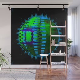 Green Layered Star in Aqua Flames Wall Mural