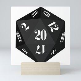 Black 20-Sided Dice Mini Art Print
