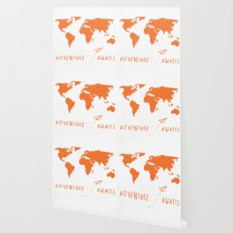 Adventure Map - Retro Orange on White Wallpaper