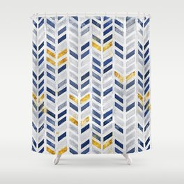 Herringbone chevron pattern.Indigo faux gold acrylic canvas Shower Curtain