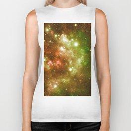 Golden Brown & Green Galaxy Nebula Biker Tank