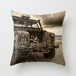 Abandoned Landrover at Dungeness Throw Pillow