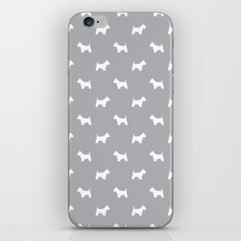 West Highland Terrier dog pattern minimal dog lover gifts grey and white iPhone Skin