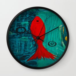 Red fish, swimming alone Wall Clock