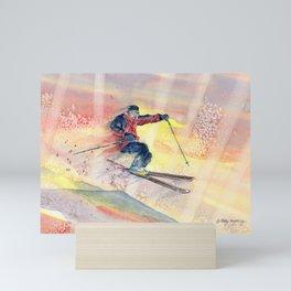 Colorful Skiing Art Mini Art Print