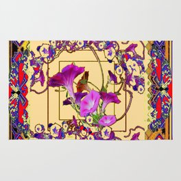 Red Decorative  Blue Purple Vining Flowers Patterns  Art Rug