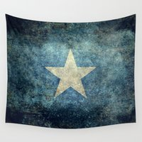 islam Wall Tapestries featuring Somalian national flag - Vintage version by Bruce Stanfield