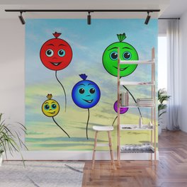 Happy colorful balloons flying in the sky Wall Mural