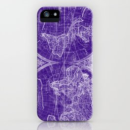 World Map (1691) Purple & White iPhone Case