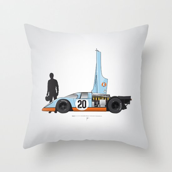 Outline Series N.º4, Steve McQueen, Porsche 917, Le Mans movie 1971 Throw Pillow