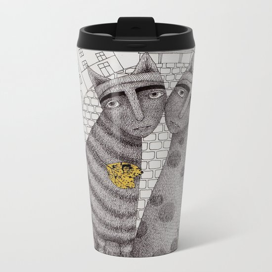 Two Cats Without Hats Metal Travel Mug