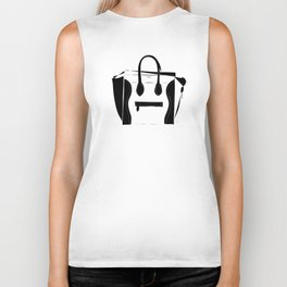 Black and White Luggage Handbag Tote Pattern Biker Tank