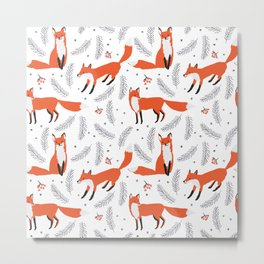 Red foxes and berries in the winter forest Metal Print