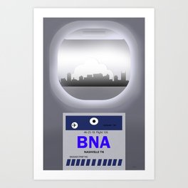Nashville - BNA - Airport Code and Skylines Art Print