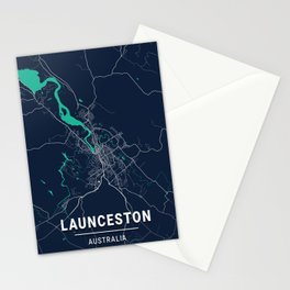 Launceston Blue Dark Color City Map Stationery Cards