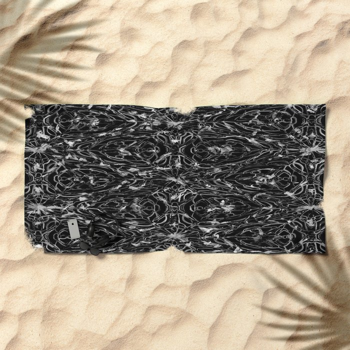 Black and white astral paint 5020 Beach Towel
