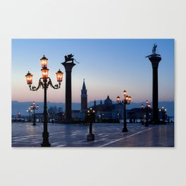 Morning at San Marco square. Saint Theodore and Lion of Saint Mark columns. Canvas Print