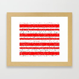 Red and White Stripe Patchy Marble Pattern Framed Art Print