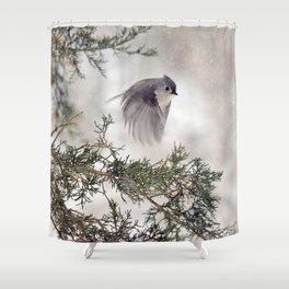 Fly-away Tufted Titmouse Shower Curtain