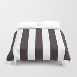 Black coffee - solid color - white vertical lines pattern Duvet Cover