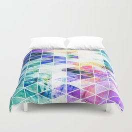 Grungy Bright Triangle Pattern Duvet Cover