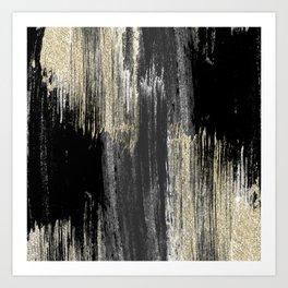 Abstract modern black gray gold glitter brushstrokes Art Print