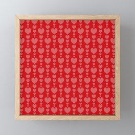 Red Background with Pink Hearts Valentines Day Love Framed Mini Art Print