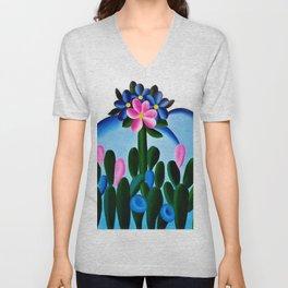 Classical Masterpiece 'Manacá' Desert Bluebell Flowers by Tarsila do Amaral Unisex V-Neck