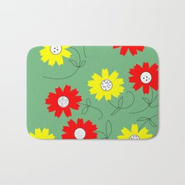 red and yellow coreopsis Bath Mat