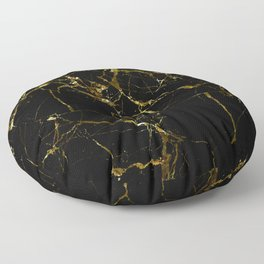 Golden Marble - Black and gold marble pattern, textured design Floor Pillow