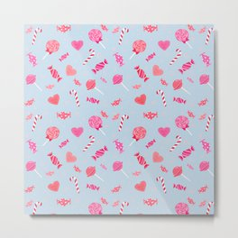 Sweet Candy Blue Pink pattern Metal Print