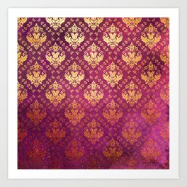 Antique Rose and Gold Pattern Print Art Print