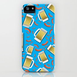 Beer and Sausage pattern on blue background German bavarian Oktoberfest iPhone Case
