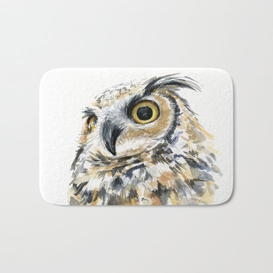 Owl Great Horned Bird of Prey Owls Animals Bird Wildlife Bath Mat