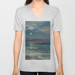 Moonlit Beach Seascape No. 2 landscape painting by Thomas Moran Unisex V-Neck