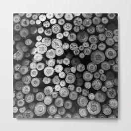 Black and White Lumber Metal Print