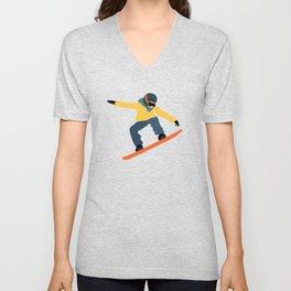 Snowboarding Illustration Pattern Unisex V-Neck