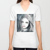 medusa V-neck T-shirts featuring Medusa by Masza illustration