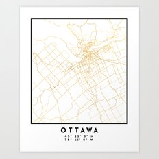 OTTAWA CANADA CITY STREET MAP ART Art Print