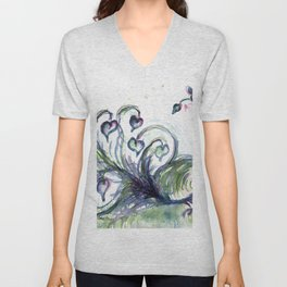 Peacock Pink Hearts watercolour by CheyAnne Sexton Unisex V-Neck