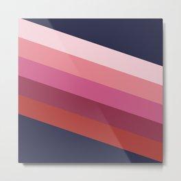 Nortia - Colorful Classic Abstract Minimal Retro 70s Style Stripes Design Metal Print