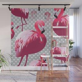 Watercolor Flamingo Pattern 6 Wall Mural
