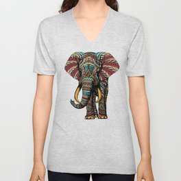 Ornate Elephant (Color Version) Unisex V-Neck