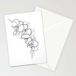 Orchid Flower Line Drawing Stationery Cards