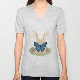 Butterfly resting on a bunny's nose Unisex V-Neck