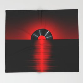 Vinyl sunset red Throw Blanket