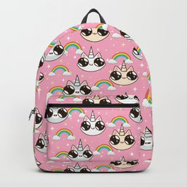 cats unicorns and a rainbow. unicorn cats on a pink background. Backpack