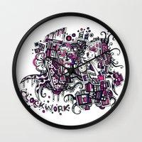 clockwork Wall Clocks featuring Clockwork by Voodoodle