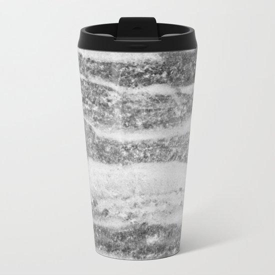 Marble Silver White Swirls Design Metal Travel Mug